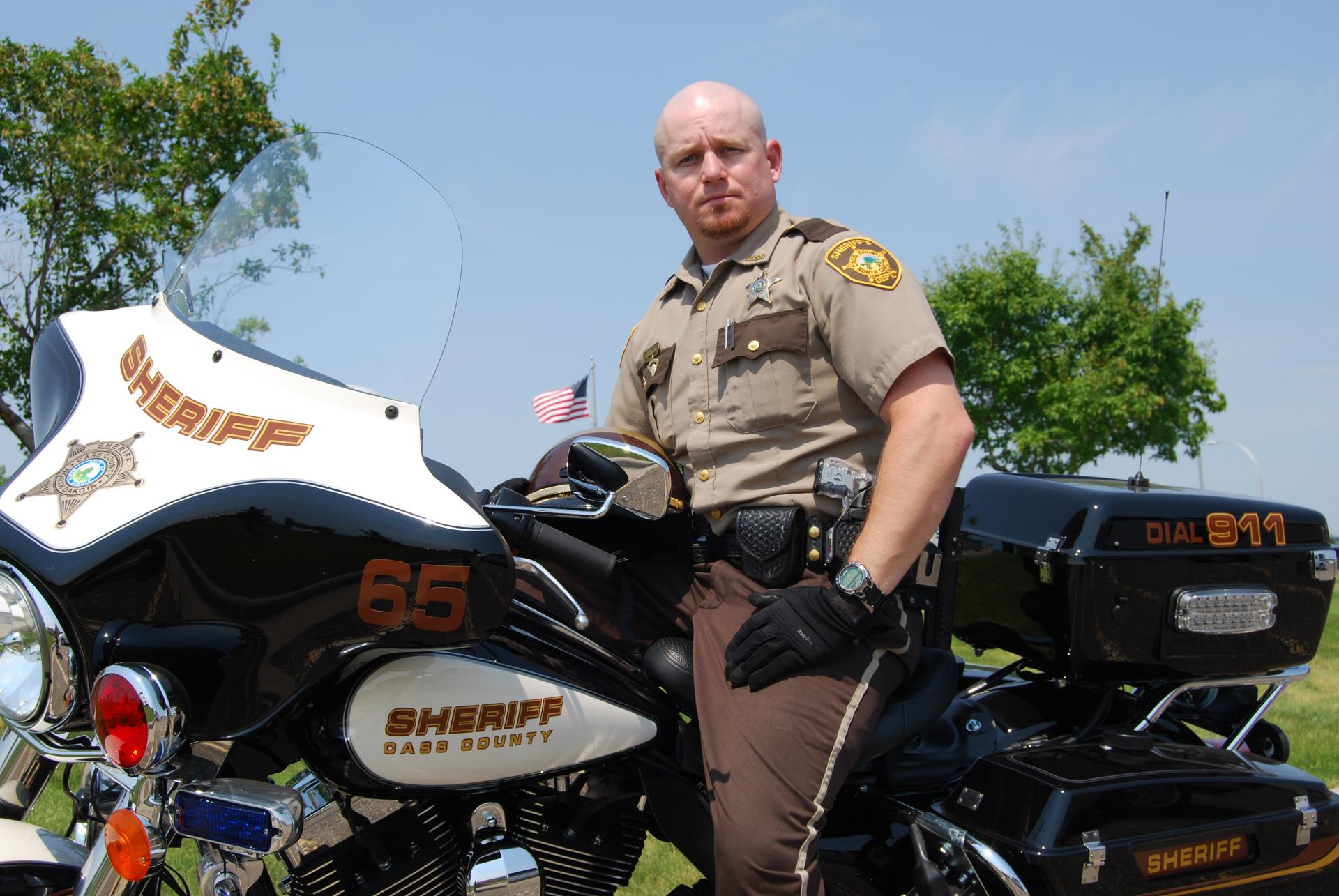 Cass County Deputy on patrol motorcycle