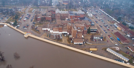 Fargo Flood 2009: Aerial view of barrier wall holding back the Red River from reaching the Veterans Hospital.